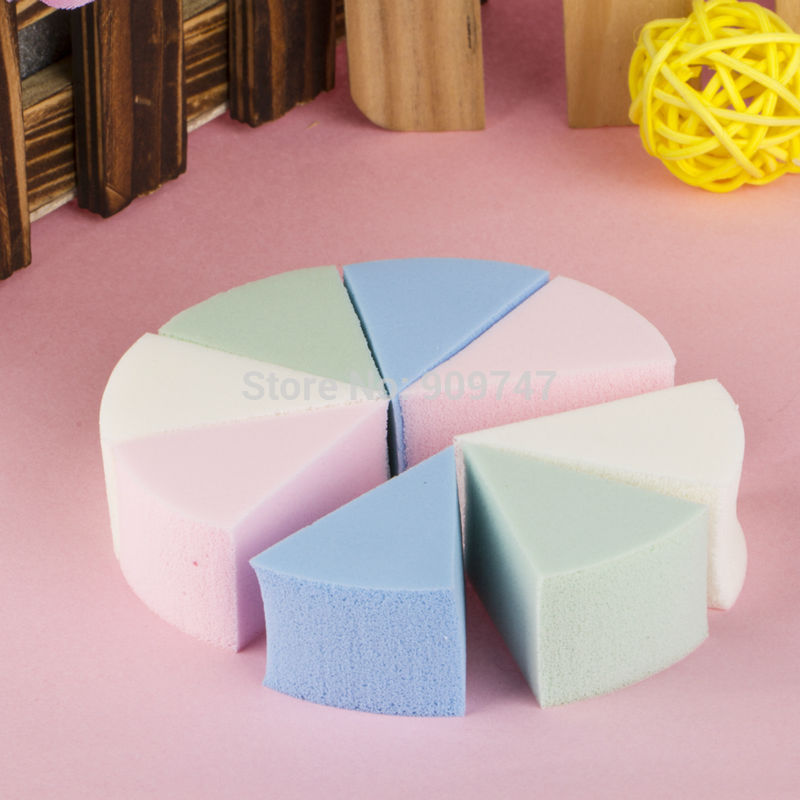 8pcs/pack,Triangle shaped candy color soft Magic Face Cleaning Pad Puff Cosmetic Puff Cleansing sponge wash face makeup sponge(China (Mainland))