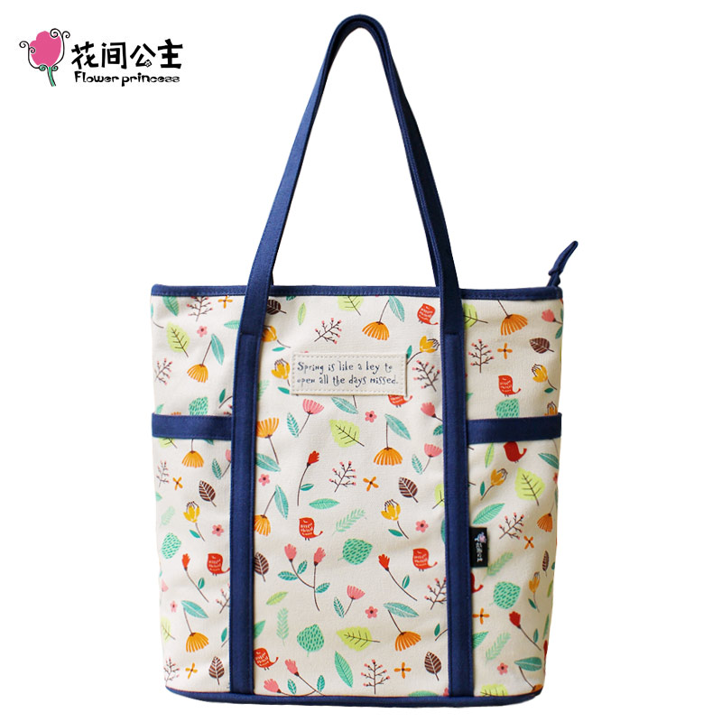 Flower princess women's north west tote bag made of printed canvas fresh design and big capacity B397(China (Mainland))