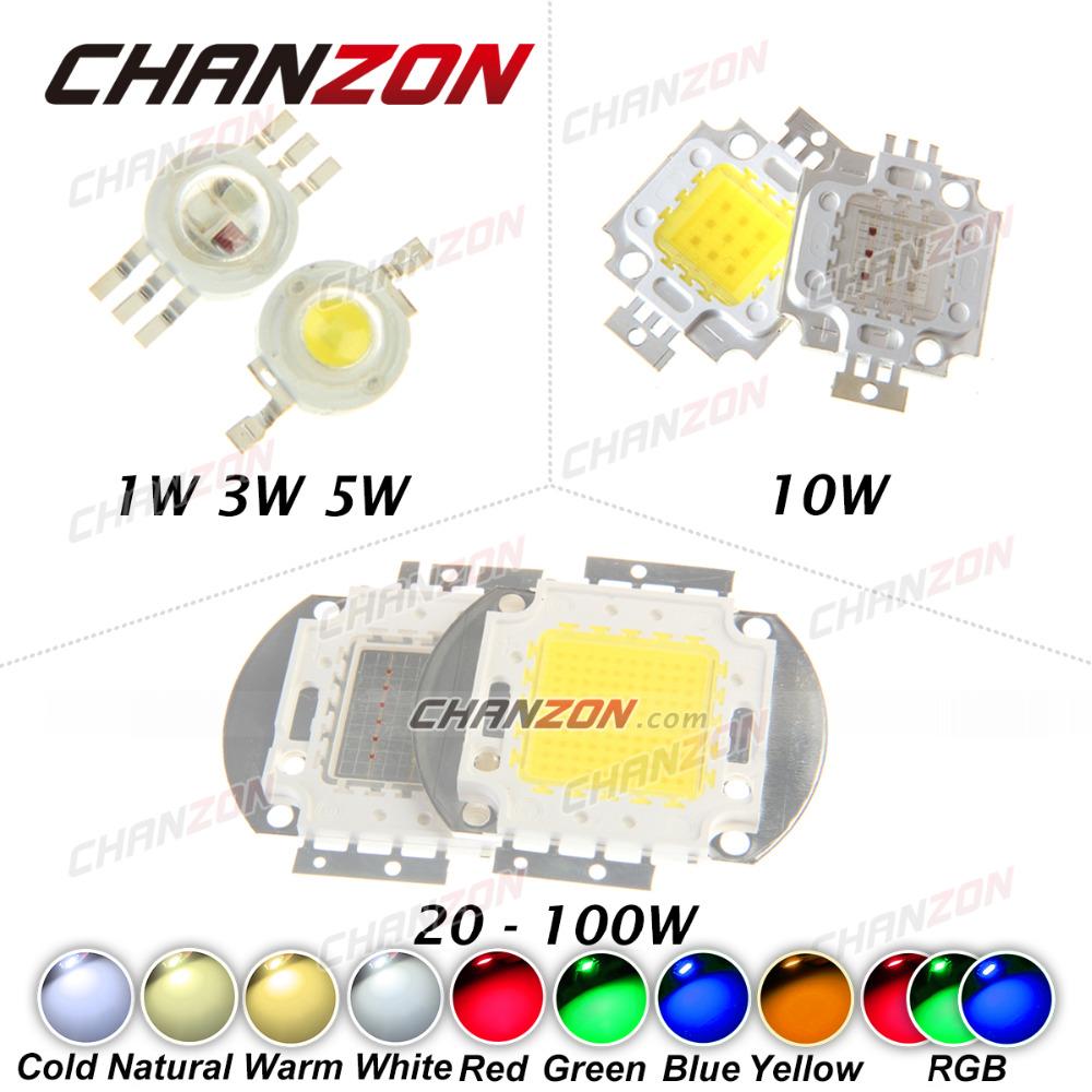 High Power LED Chip 1W 3W 5W 10W 20W 30W 50W 100W COB SMD LED Bead Cool Natural Warm White RGB Red 1 3 5 10 20 30 50 100 W Watt(China (Mainland))