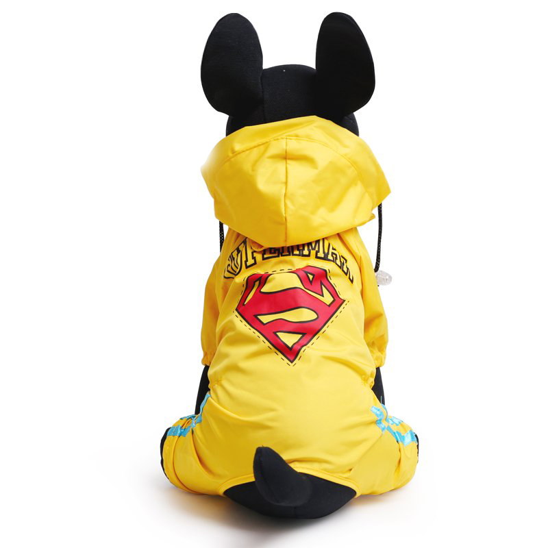 Dog Puppy Raincoat Fashion Superman Clothing High Quality Waterproof Dog Clothes Yellow And Red S M L XL 2XL 3XL 4XL 5XL(China (Mainland))