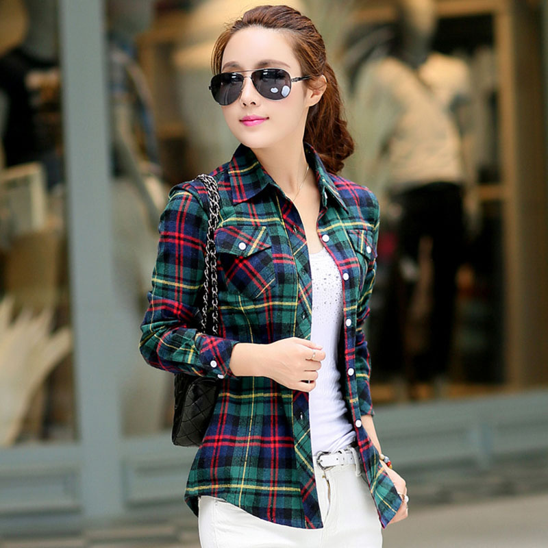 Hot sale 2016 spring women blouses cotton fashion long for Girl in flannel shirt