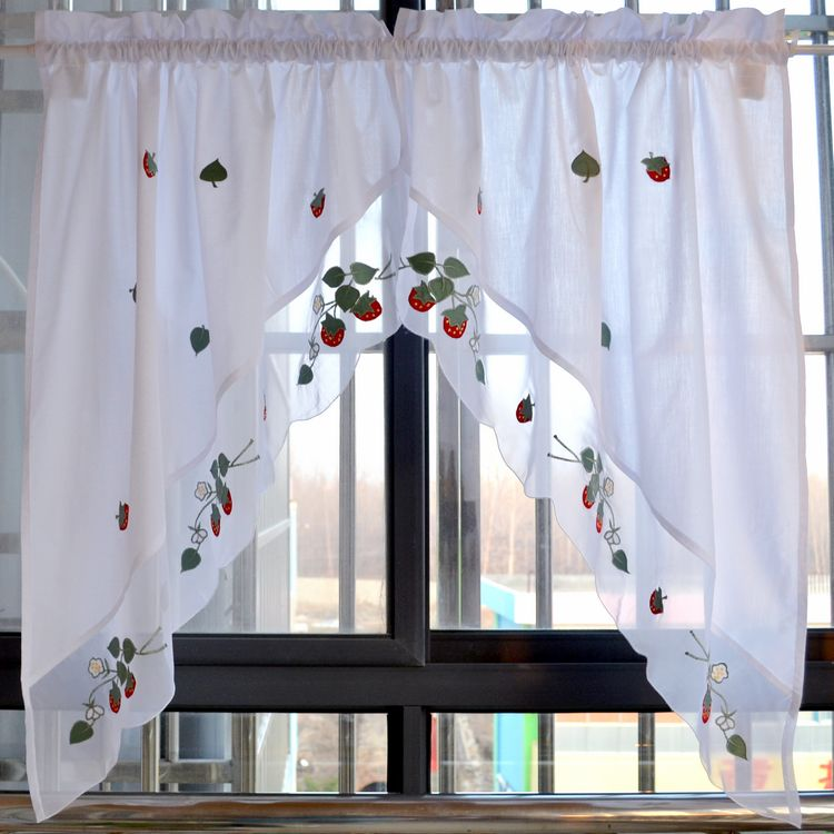 Strawberry embroidered decorative curtains short kitchen - Cortinas para cocinas ...