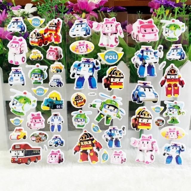 2016 новинка 3D Robocar поли стикер стены, Поли полиция мультфильм пена блестящие наклейки, Детская формирующая образование игрушки наклейки