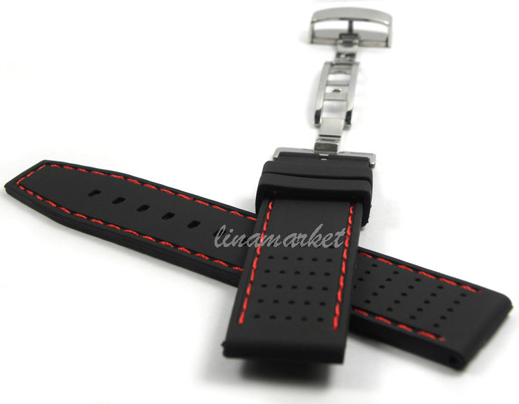 22mm (Buckle 22mm) NEW STAINLESS STEEL FOLD BUCKLE Black Red Stitched Waterproof Diving Silicone Rubber Watch band Strap HG5r<br><br>Aliexpress