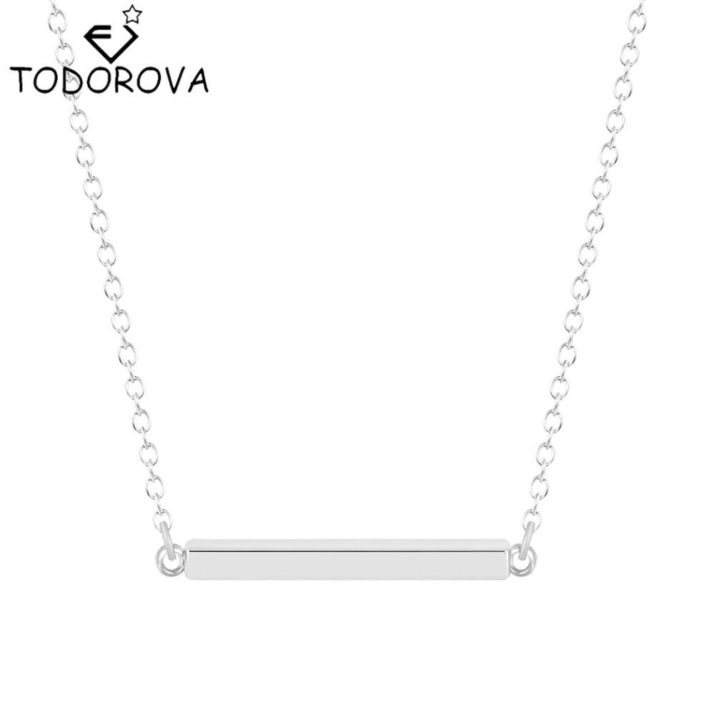 Todorova 10pcs Women Fashion Jewelry Wholesale Gold Silver Tone Blank Bar Charm Pendant Necklace Chain for Buyer Own Engraving(China (Mainland))