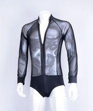 Exotic dance ballroom dance Latin dance transparent elastic net long sleeved zipper V collar men exercise top  MS12012