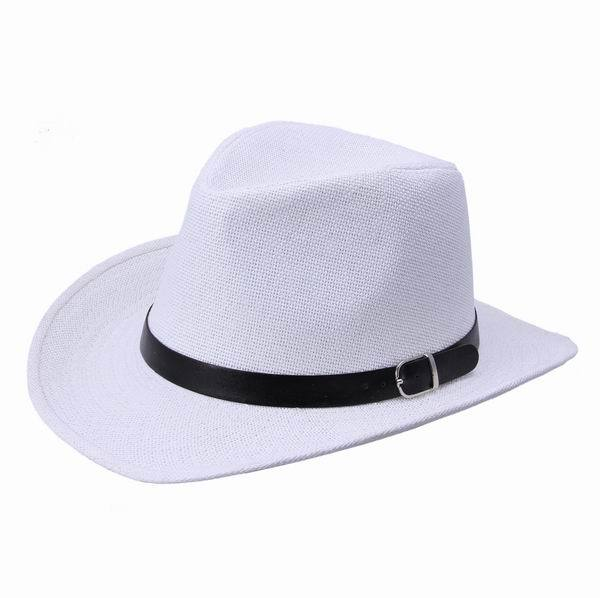 Summer Women Men Unisex Beach Trilby White Large Wide Brim Jazz Sun Panama Fedora Hat Casual Straw Cap Black Ribbon - EOZY Fashion Style store