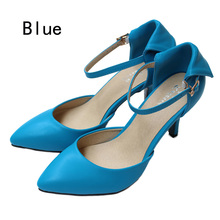 New 2015 sheepskin pointed toe ankle-strap summer style women pumps Genuine leather women high heels sandals shoes woman D45(China (Mainland))