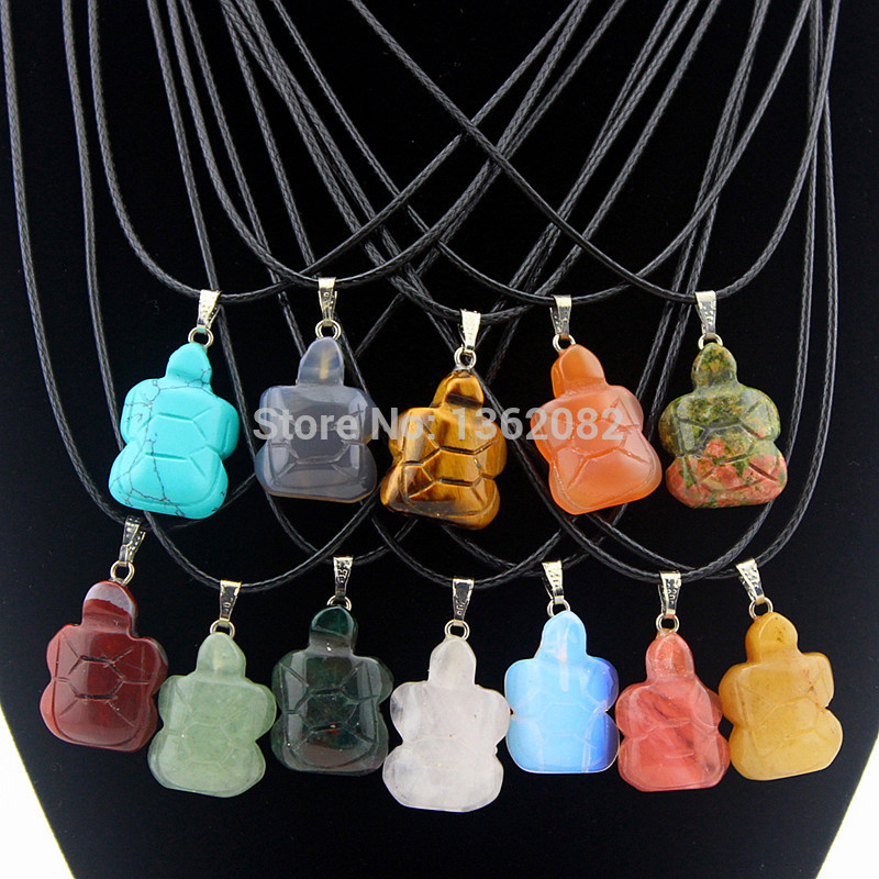 Wholesale 12pcs/Lot Men Women's Fashion Natural Stone Carved Cute Sea Turtles Pendant Necklace Gift YN535(China (Mainland))