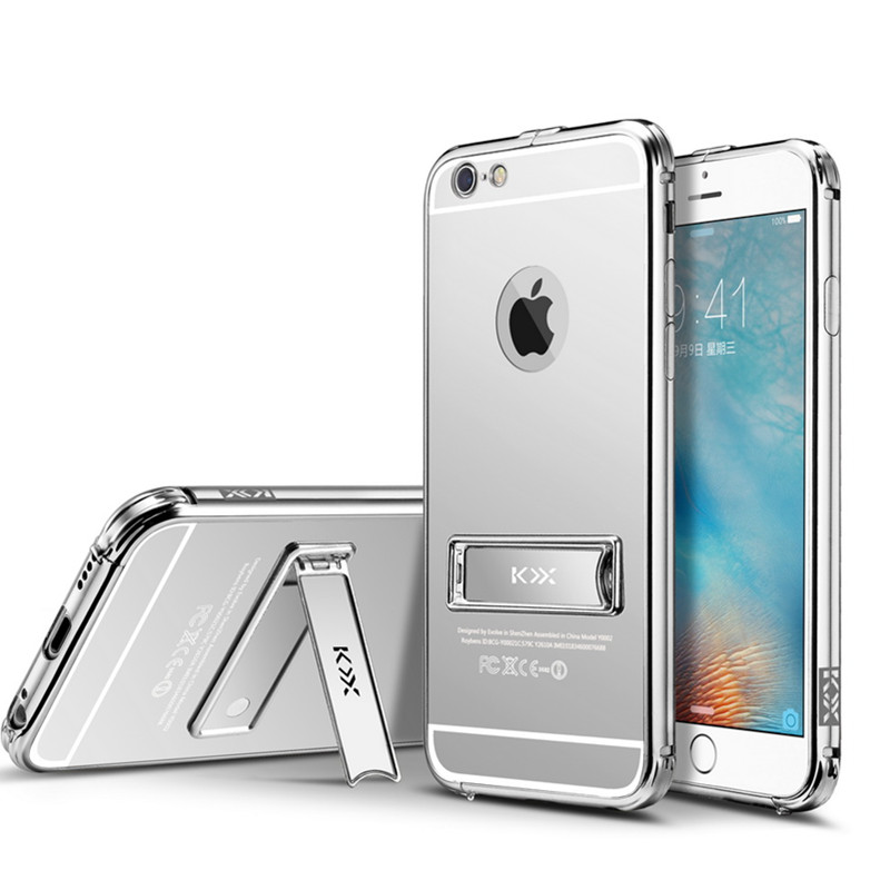 Luxury Aluminum Frame+PC Back Cover For Iphone 6 plus Case Gold-Plating Mirror Surface Cell Phone Cases(China (Mainland))