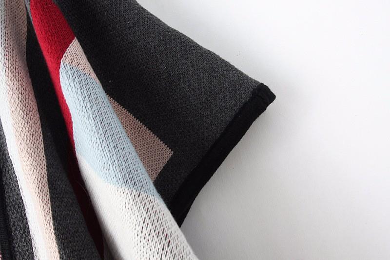 H011 autumn thin Cardigans British striped cape-style Three Quarter Geometric Casual cardigan women sweater pull femme sweaters