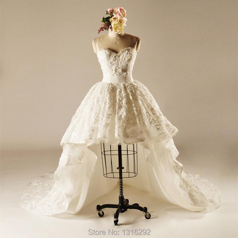 Ivory lace sweetheart front short long back wedding for Ivory short wedding dress