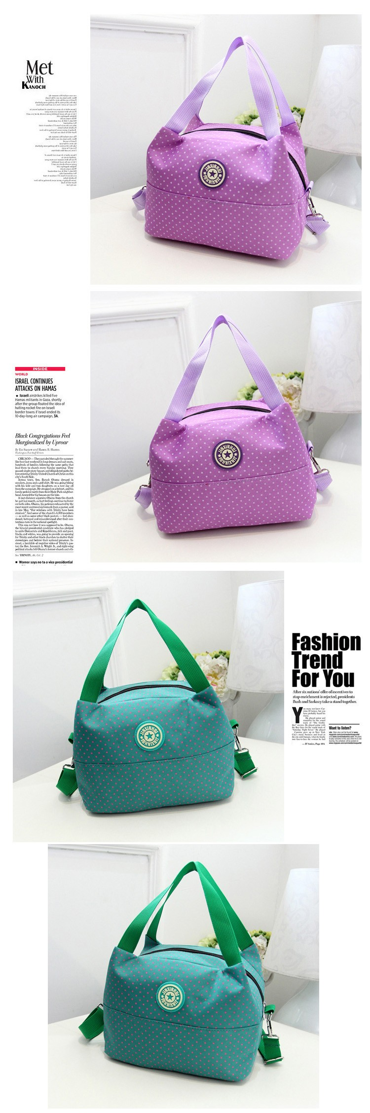 2016 Famous Brands Women Bag Polka Dot Shoulder Bag Ladies Big Canvas Bag Tote Waterproof Women'S Messenger Bags Bolsa Feminina