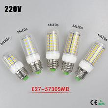 1Pcs 7W 12W 15W 20W 25W E27 LED Corn Bulb 220V Samsung SMD5730 LED lamp Spotlight 24LED 36LEDs,48LEDs,56LEDs,69LEDs For light(China (Mainland))