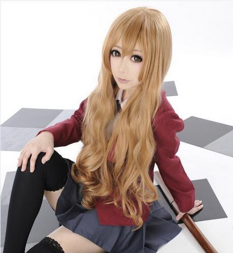 Toradora! Aisaka Taiga Blonde Long Wavy light brown Cosplay Wig little tiger<br><br>Aliexpress