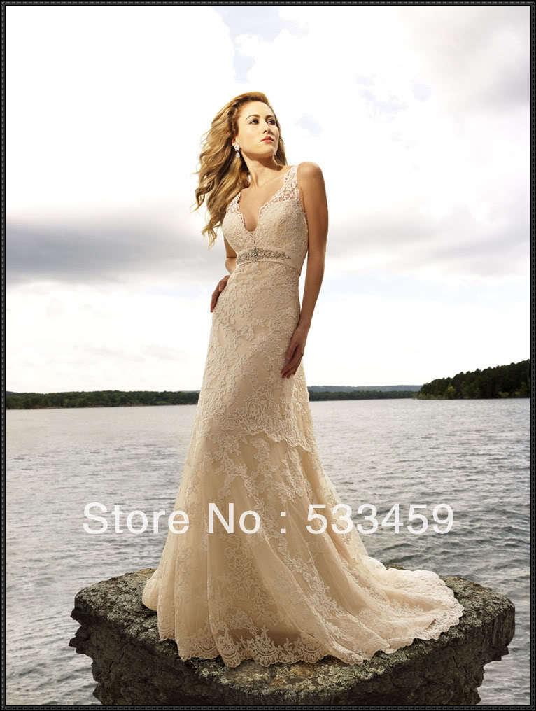 Fashion sexy v neck lace wedding dress 2013 wedding dress for Wedding dress free shipping