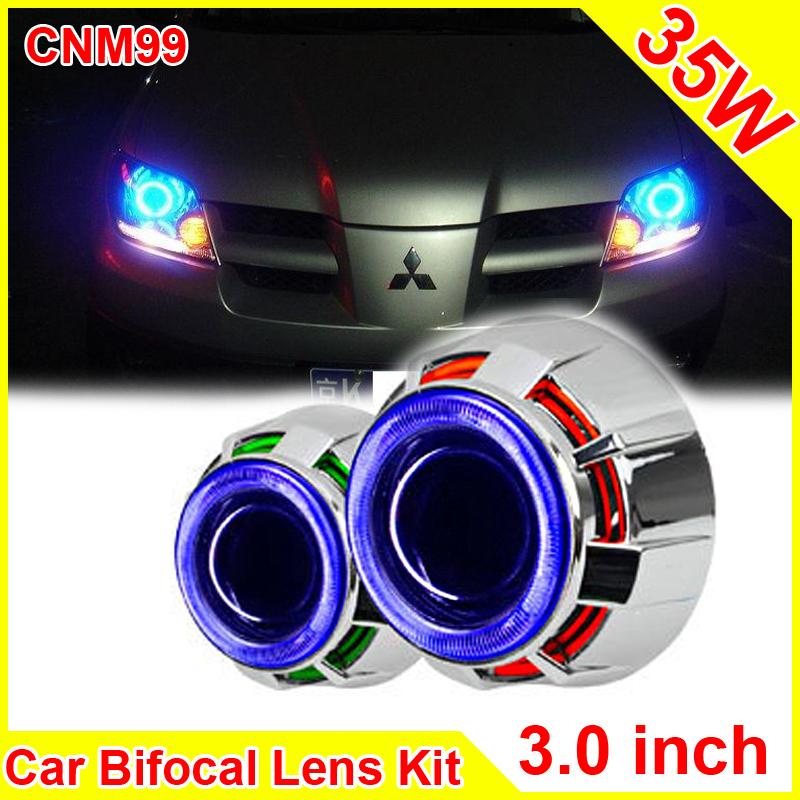 3.0 Inch 35W Car H1 H4 H7 Bi Xenon Projector Lens External lights Day Light Led Car Headlight Lens Double CCFL Angel Eyes CNM99<br><br>Aliexpress