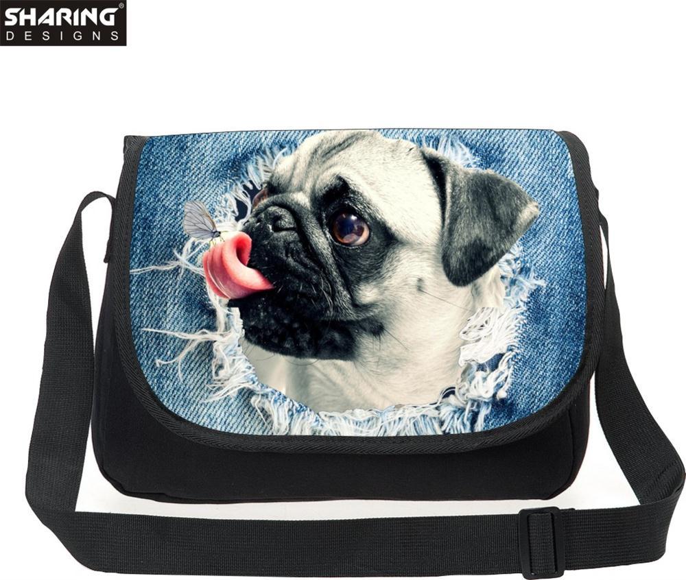 Multicolor Animal Pug Dog Messenger Bag Cross body Bag For Women Vintagecanvas Teenager Girls Travel Messenger-bag Over Shoulder(China (Mainland))
