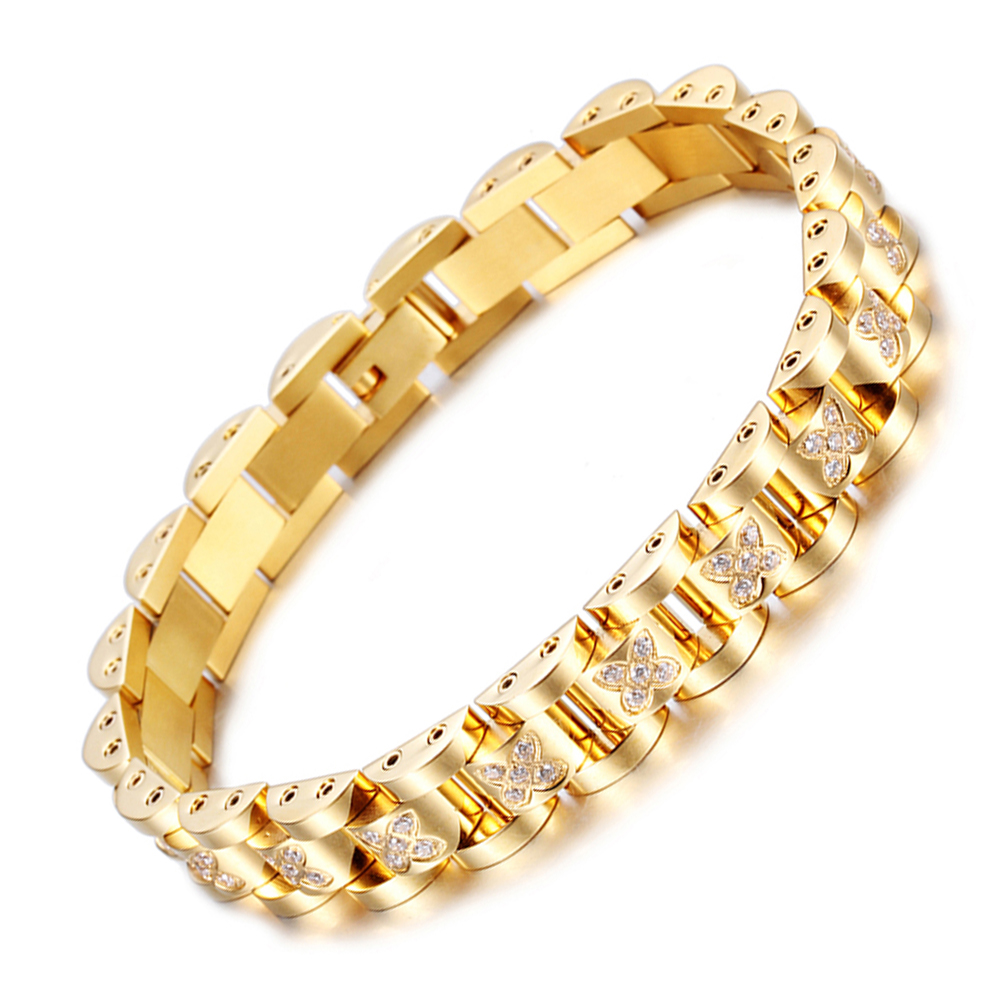 "2016 Ladies18K Gold Coating Four Leaf Clover Crystal Bracelet 8.5"" Bio Female Women Stainless Steel Jewelry Bangle FREE SHIPPING(China (Mainland))"