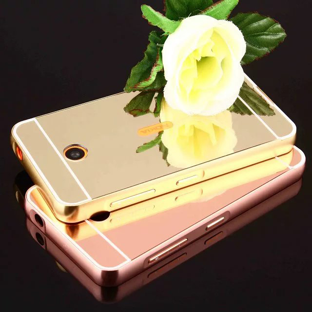 Luxury Mirror Hybrid case for Nokia Lumia 630 635 Hard Metal Aluminum frame Protective back cover for Nokia 635 630 shell(China (Mainland))