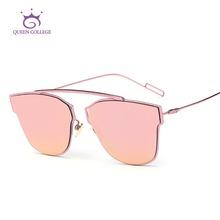 ราชินีวิทยาลัยแว่นตากันแดดของผู้หญิงเดียว-จมูกแบนการออกแบบเลนส์ยี่ห้อเต็มโลหะกรอบแว่นตาอาทิตย์OculosเดอโซลUV400 QC0329