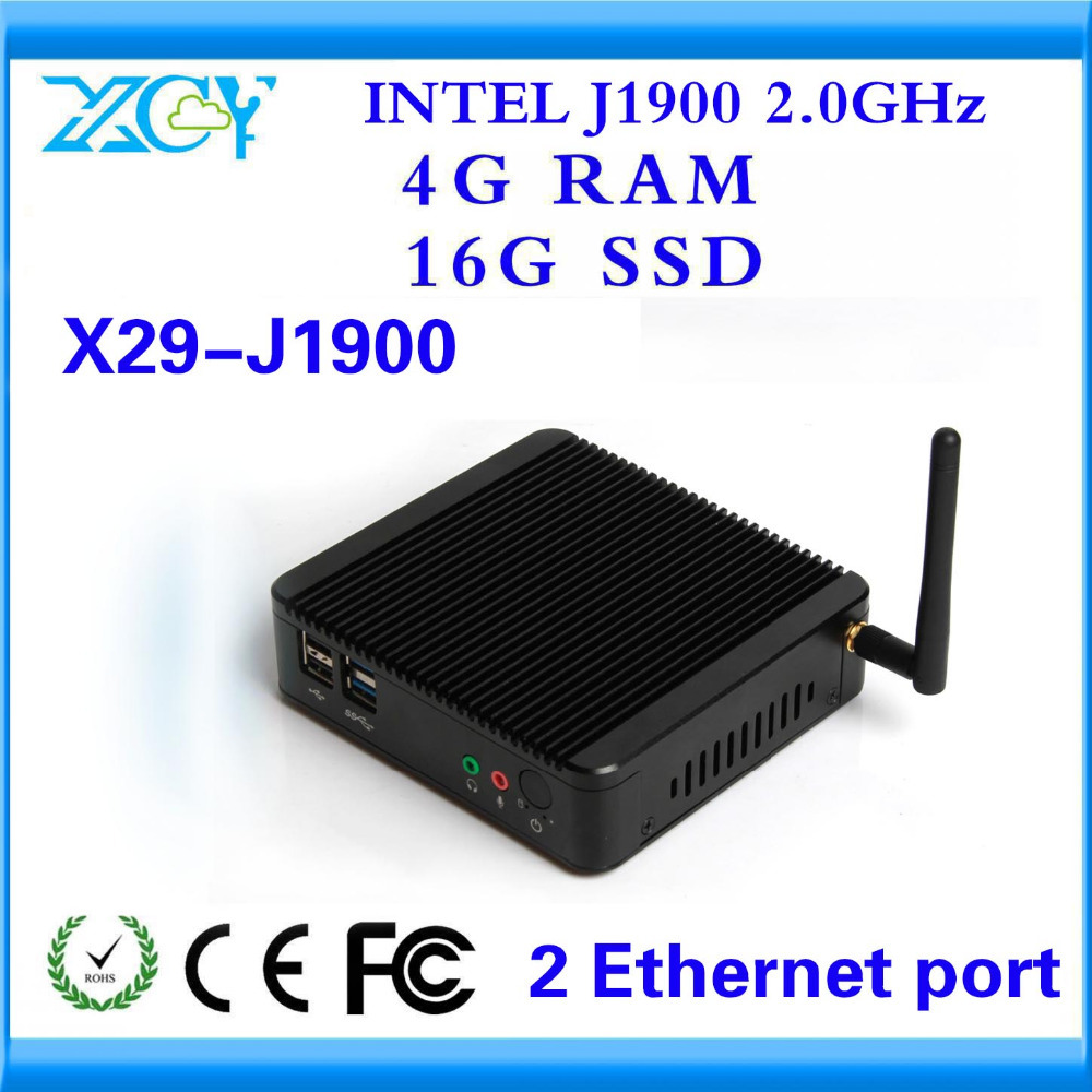 XCY ALL-POWERFUL FANLESS ALUMINUM ALLOY MINI PC BLACK CADE 1*LAN THIN CLIENT 4G RAM AND 16G SSD WIN7 MARKET ADVERTISING MACHINE(China (Mainland))