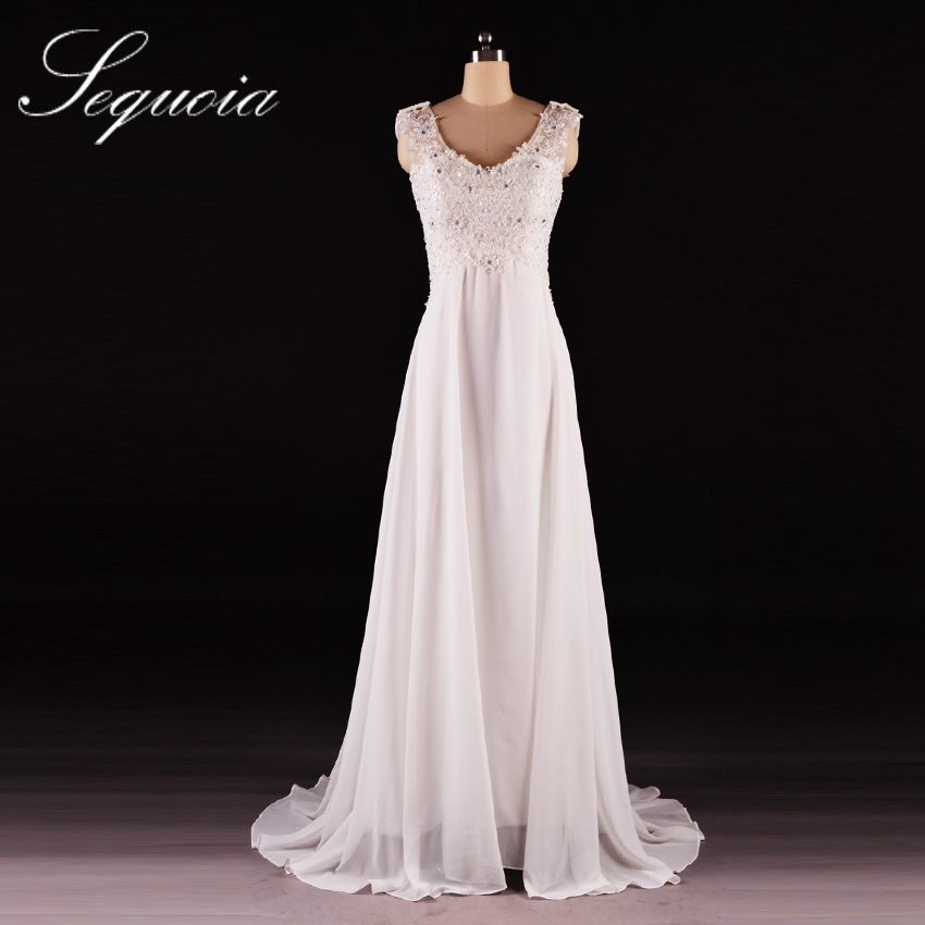 Aliexpress Buy Real Picture Sleeveless V Neck Sequined Appliques Bridal Long Chiffon Beach