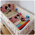 Promotion 6PCS Mickey Mouse crib baby bedding set 100 cotton bed linen baby bed around bumpers