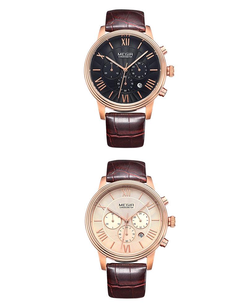 Megir спорт кварцевые часы мужчины из натуральной кожи многофункциональные часы водонепроницаемые наручные male2012 бесплатная доставка