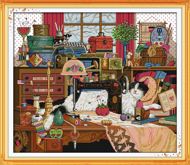 The Cat and Sewing Machine DMC Cross-stitch 14CT 11CT DIY Needlework Counted Cross Stitch Kits For Embroidery Crafts Home Decor(China (Mainland))