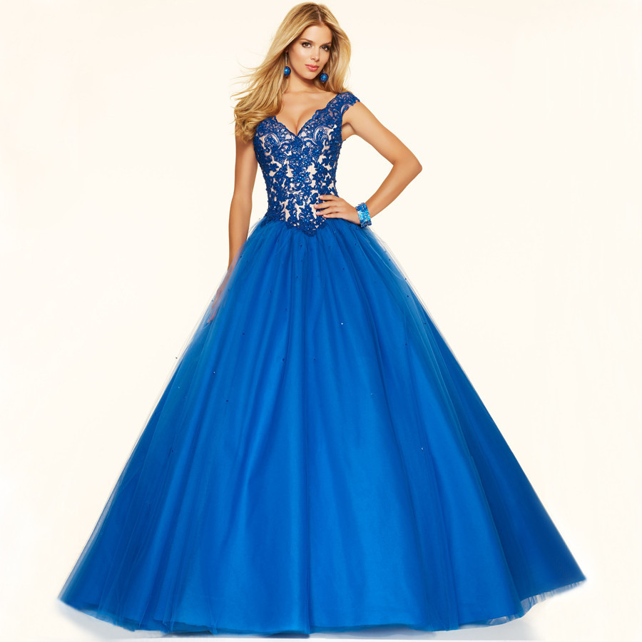 Long Beautiful Prom Dresses V Neck Cap Sleeve Princess ...