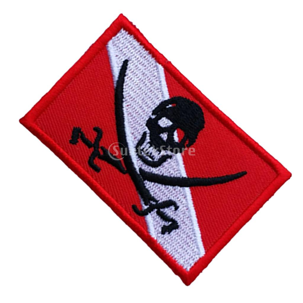 Red White Polyester Sew On Diver Flag Black Skull Skeleton Embroidered Patch with PVC Dive Flag Patch for Scuba Diving