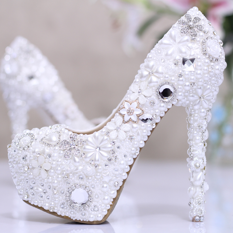 Aliexpress Buy White Rhinestone Flower Wedding Shoes Ultra High Heels Platform Womens