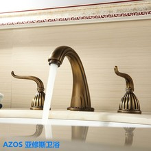 AZOS Antique brass Finished Deck Mounted Three Holes Dual Handle Sink Faucets Hot and Cold Water Mixer Tap Bathroom Basin Faucet