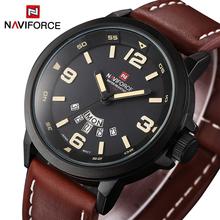 Brand Naviforce Men Military Sports Watch Quartz Waterproof Analog Digital Watches Date Clock Leather Strap Wristwatch Relogio