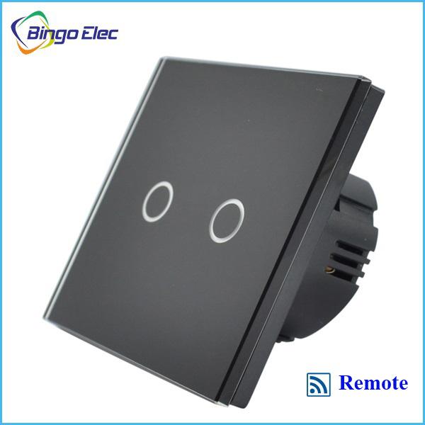 2gang black glass touch remote switch,remote control wall switch,Wireless remote light switch EU/UK satandard AC110-250V(China (Mainland))