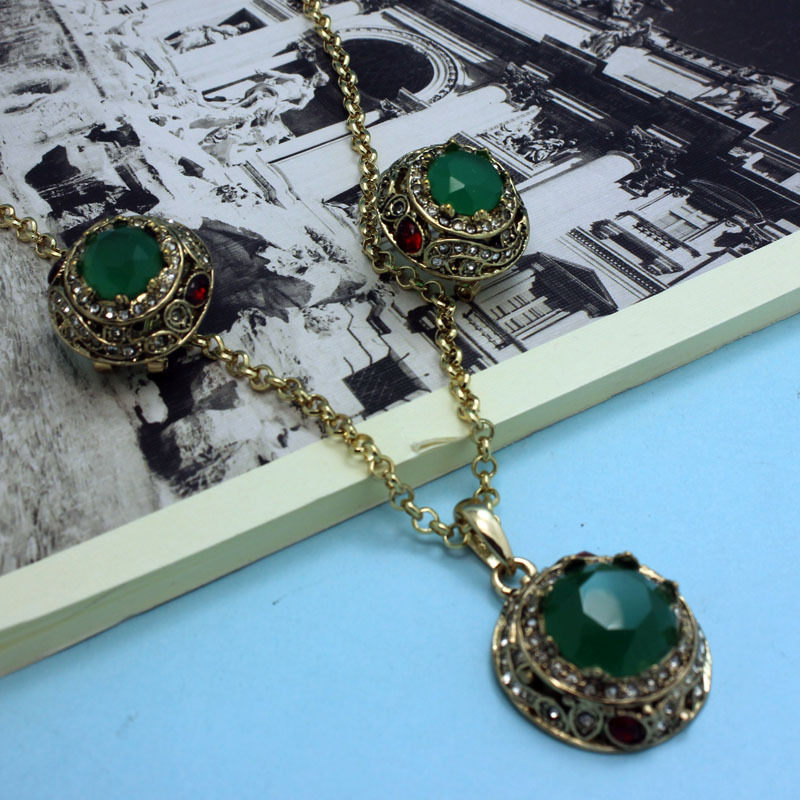 Excellent Fashion Emerald Green Turkishe Vintage Jewelry Set Colares Bijuterias brand Indian Jewellery Sets Antique Gold Neclace(China (Mainland))