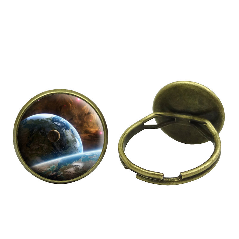 Glass Cabochon Galaxy Space Ring Vintage Bronze Accessories Copper Rings for Women Fashion Jewelry S0997(China (Mainland))