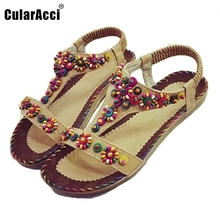 Buy Sexy Lady Flat Sandals Open Toe Beading Sandal Elastic Summer Shoe Women Flower Beach Vacation Party Leisure Footwear Size 36-40 for $12.11 in AliExpress store