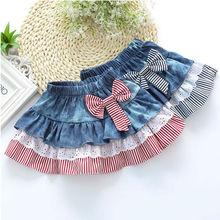 Free Shipping 6-12Y Children's Kids Girl Party Casual Bow Mini Denim Tutu Skirts Pettiskirt Fluffy Skirt For Girls Petticoat S04