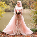 Oumeiya OW540 Pink Tulle Beaded Embroidery High Neck Long Sleeve Hijab New Design Muslim Bridal Dress