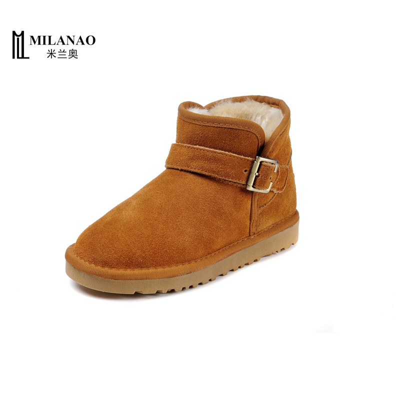 Free Shipping! Milanao Brand Classic 5855 Buckle Strap Boot Genuine Leather Snow Boot Unisex US 5-13(China (Mainland))