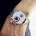 Silver Stainless Steel Watch Sport Watch Relogio Masculino 3 ATM Water Resistant Men Wristwatch Military Sport