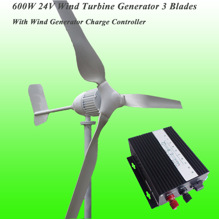 2016 New Arrival 3 Blades Rated 600W 24V Wind Generator & Rated 600W 24V Wind Charge Controller Wind Power Generator Kit(China (Mainland))