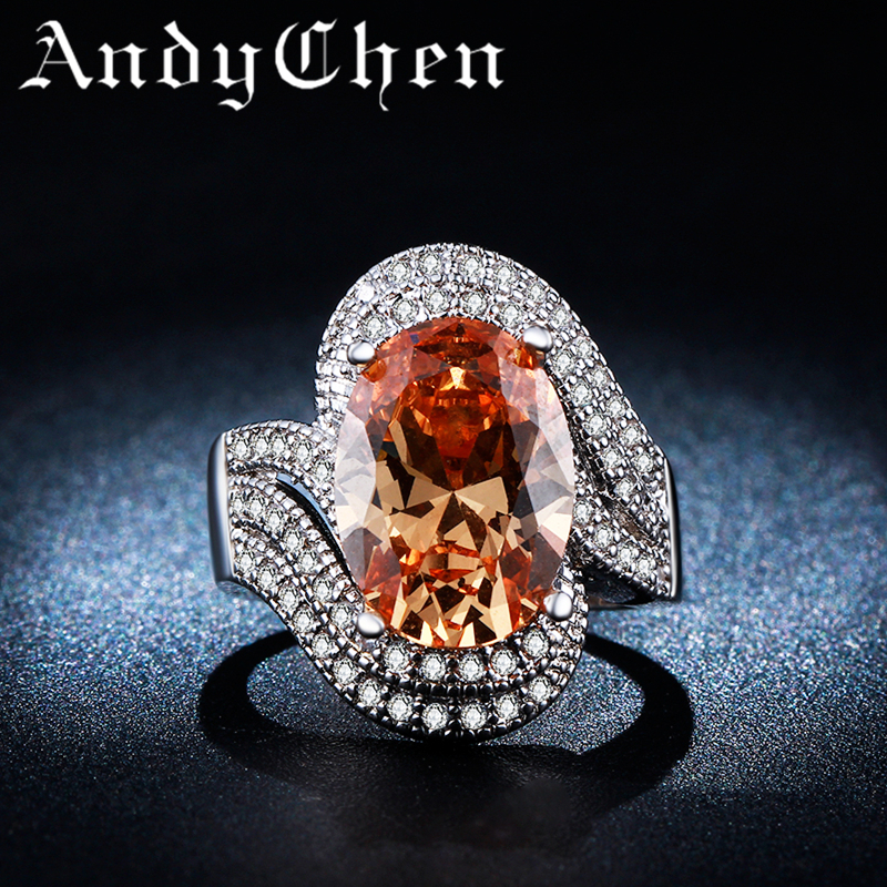 Amber 925 Silver Filled Vintage Wedding Rings for Women Luxury Crystal Bijoux Engagement Bague Accessories ASR240(China (Mainland))