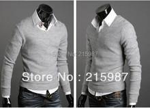 wholesale -free shipping  hot sell New Men Rabbit Plush v-neck Knitting  Pullover  Dark grey(China (Mainland))