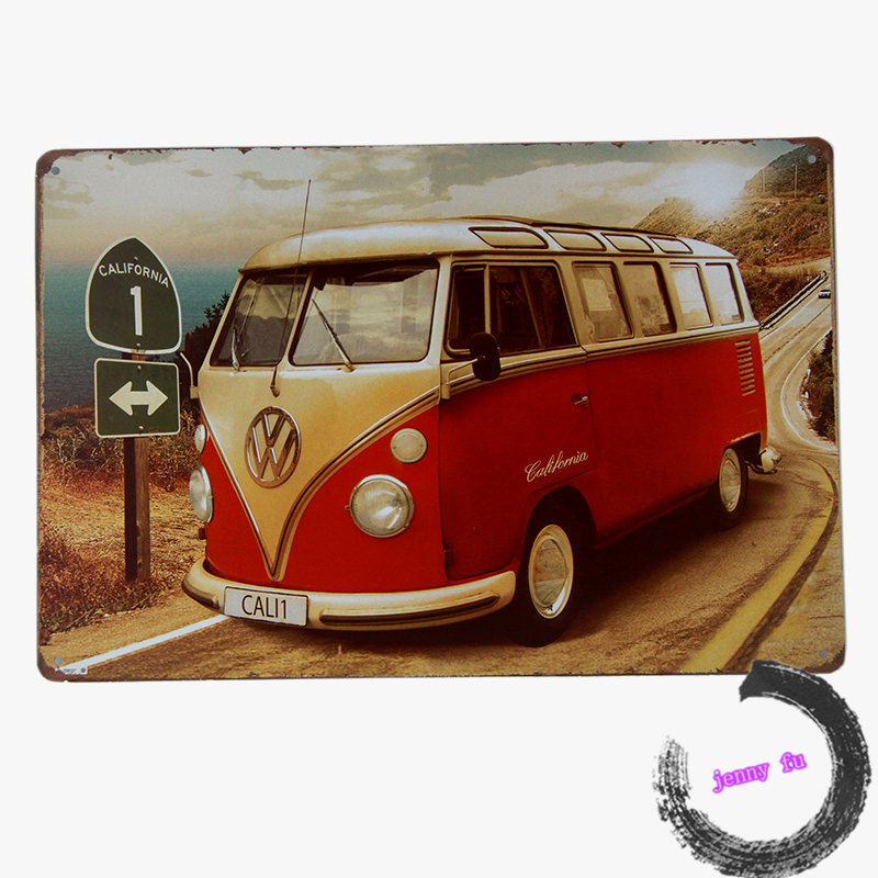 Tin Sign Bus Vintage metal poster Antique painting Home Pub Bar wall decor <i106,8*12inch>(China (Mainland))