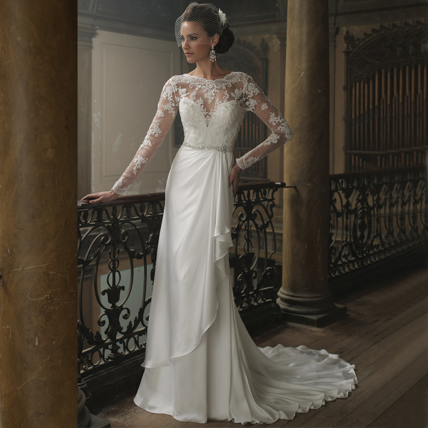 Wedding dresses lace see through luxury cathedral train for See through lace wedding dress
