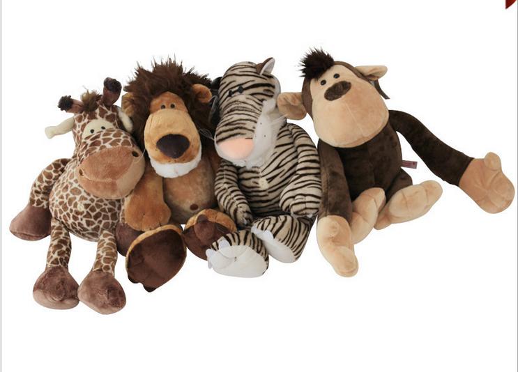 Envío gratis 1 lote = 4 / Piece 30 - 35 cm de leones, tigres, ciervos, monos, Jungle Brothers juguetes para niños(China (Mainland))