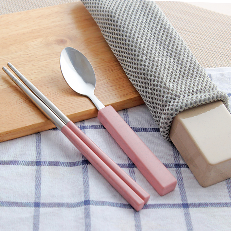 Wheat Element 304 Stainless Steel Children's Tableware Portable Travel Picnic Set Chopstick Spoon Box Square Dinnerware Sets(China (Mainland))